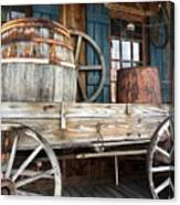 Old Wagon And Barrell Canvas Print