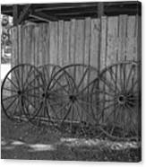 Old Wagon Wheels Black And White Canvas Print