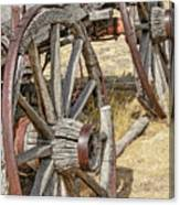 Old Wagon Wheels From Montana Canvas Print