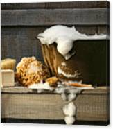 Old Wash Tub With Soap On Bench Canvas Print