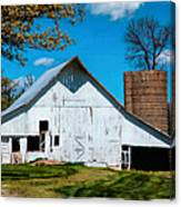 Old White Barn With Treed Silo Canvas Print