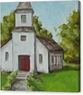 Old White Church In The Texas Hill Country Canvas Print