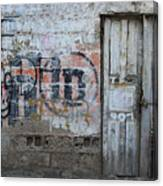 Old White Door In A Wall Canvas Print
