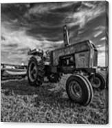 Old White Tractor In The Field Canvas Print