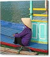 Old Woman On A Colorful River Boat Canvas Print