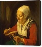 Old Woman Unreeling Threads 1665 Canvas Print