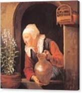 Old Woman Watering Flowers 1665 Canvas Print