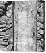 Old Wood Door  And Stone - Vertical Bw Canvas Print