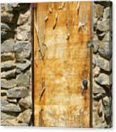 Old Wood Door And Stone - Vertical  Canvas Print