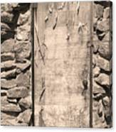 Old Wood Door  And Stone - Vertical Sepia Bw Canvas Print