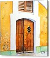 Old Wood Door Arch And Shutters Canvas Print