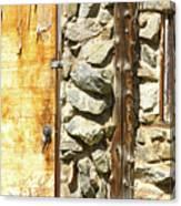 Old Wood Door Window And Stone Canvas Print