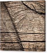 Old Wooden Board With Notches By Sawing Canvas Print