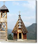 Old Wooden Church And Bell Tower Canvas Print