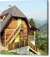 Old Wooden House On Mountain Landscape Canvas Print