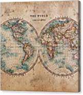 Old World Map In Hemispheres Canvas Print