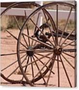 Old Worn Wagon Wheels in New Mexico Canvas Print