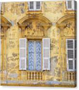 Old Yellow Building With Lace Curtain In Nice, France Canvas Print