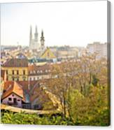 Old Zagreb Panorama In Morning Fog Canvas Print