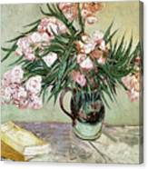 Oleanders And Books Canvas Print