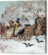Olenka And Kmicic In A Sleigh, 1885 Canvas Print