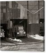 Olyphant Pa Coal Breaker Loading Trucks And Gondola Car Winter 1971 Canvas Print
