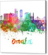 Omaha V2  Skyline In Watercolor  Canvas Print