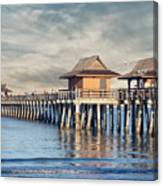 On A Cloudy Day At Naples Pier Canvas Print