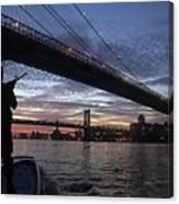 On Duty By Brooklyn Bridge New York Canvas Print