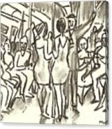 On The A, New York City Subway Drawing Canvas Print