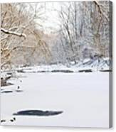 On The Bank Of A Snow Cover Stream Canvas Print