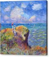 On The Bluff At Pourville - Sur Les Traces De Monet Canvas Print