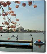 On The Cherry Blossom Dock Canvas Print