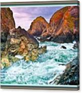 On The Coast Of Cornwall L A With Decorative Ornate Printed Frame. Canvas Print