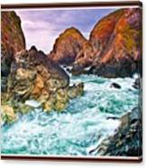 On The Coast Of Cornwall L B With Decorative Ornate Printed Frame. Canvas Print