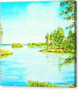 On The Lake In A Sunny Day 2 Canvas Print