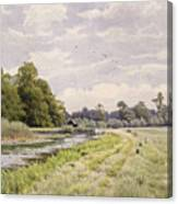 On The River Ouse Hemingford Grey Canvas Print