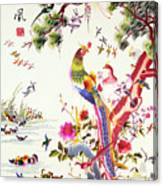 One Hundred Birds With A Phoenix, Canton, Republic Period Canvas Print