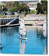 One-person Sailboats By The Commercial Pier In Monterey-california Canvas Print