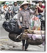 One Woman Street Life Hanoi Canvas Print