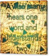 One Word Canvas Print