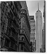 One World Trade Center New York Ny From Nassau Street Black And White Canvas Print