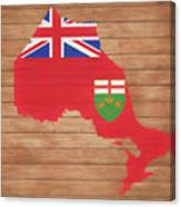 Ontario Rustic Map On Wood Canvas Print