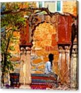 Open Air Bed Among The Arches India Rajasthan 1a Canvas Print