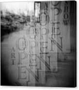 Open Sign Quadruple Multiple Exposure Holga Photography Canvas Print