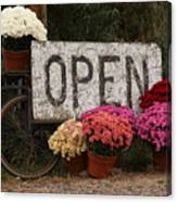 Open Sign With Flowers Fine Art Photo Canvas Print