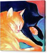 Orange And Black Tabby Cats Sleeping Canvas Print