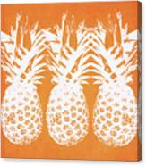 Orange And White Pineapples- Art By Linda Woods Canvas Print
