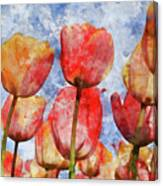 Orange And Yellow Tullips With Blue Sky Canvas Print