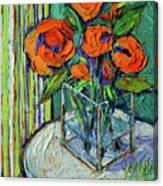 Orange Bloom - Textured Impressionist Palette Knife Oil Painting Mona Edulesco Canvas Print